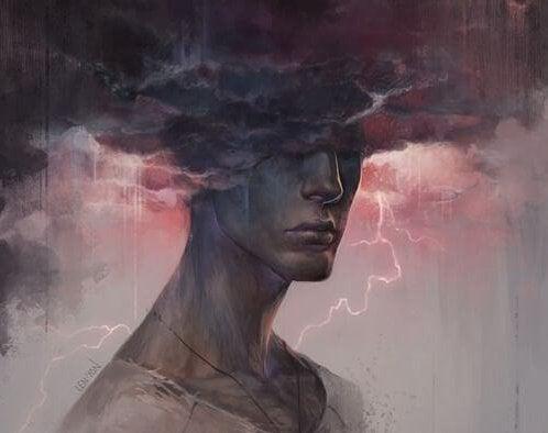 adam yağmur ve şimşek fırtınasının içinde