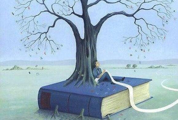 kitap ile kökleşmiş ağaç adam