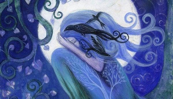 mavi saçlı kadın ve kargalar