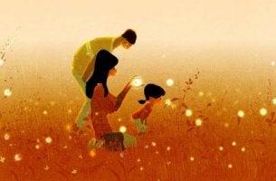aile tarlada geziniyor