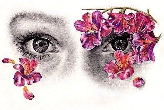 çiçekli daldan bakan gözler