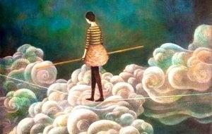 bulutlar ipin üstünde yürüyen kadın