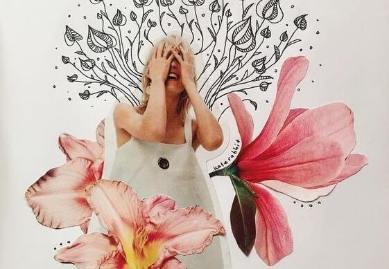 çıldıran kadın çiçekler arasında