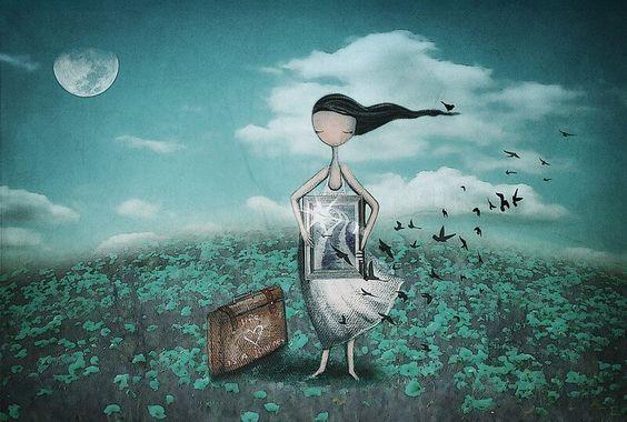 elindeki tabloda kuşlar uçan kız