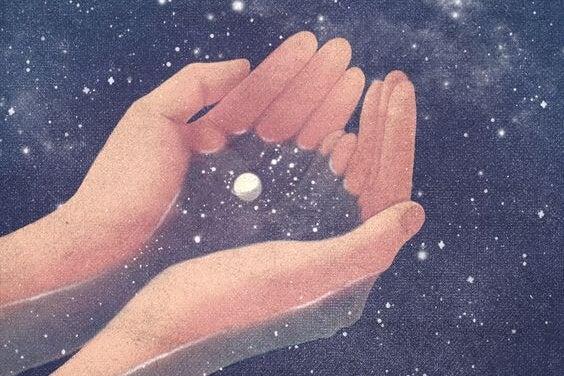 eller gökyüzüne açılıp yıldız topluyor
