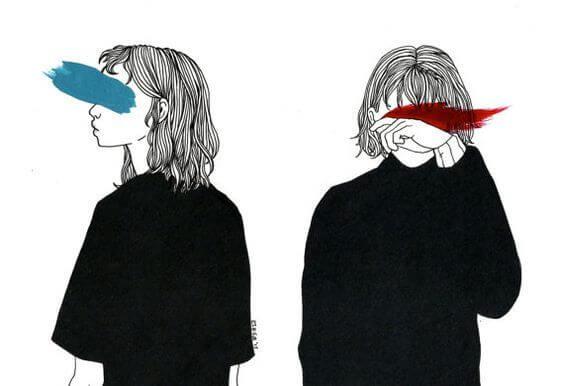 gözleri karalayan mavi ve kırmızı