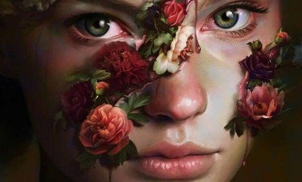 yüzünde güller olan kadın