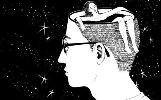 kafasında kadın yüzen adam
