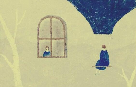 pencereden bakan ve dışarıda oturan