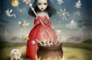 büyücü kadın iksir yapıyor