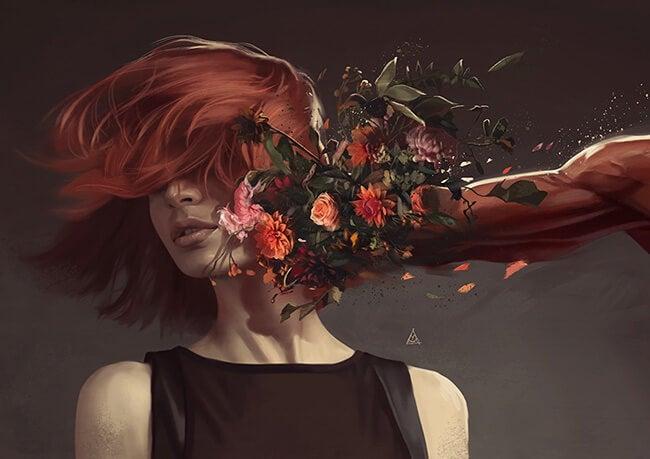 kadını çiçekle döven adam
