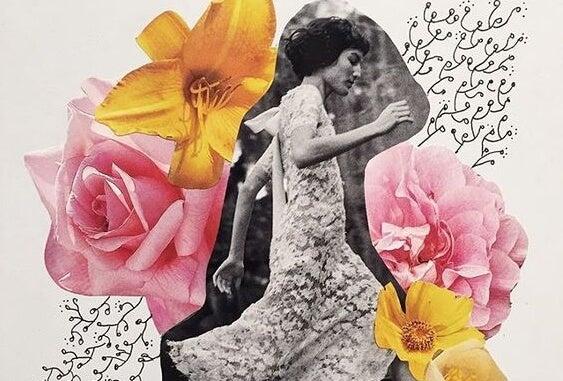çiçekler arasında koşan kadın