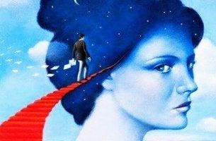 kadına doğru giden merdivenlerde yürüyen adam