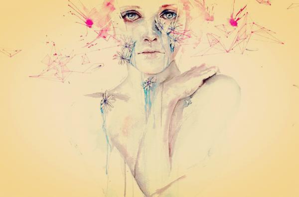 kadın ve boyalı çiçekler