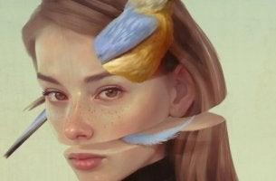 kadının suratı ikiye bölünmüş