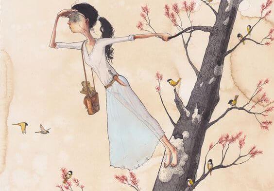 çiçek ve kuş dolu ağaçta bir kadın uzaklara bakıyor