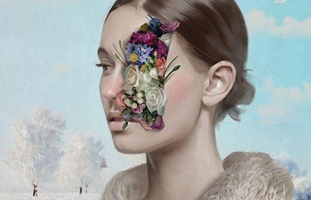 kadının yüzünün yarısı çiçek