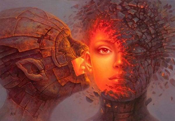 kırmızılı kadın ve adam