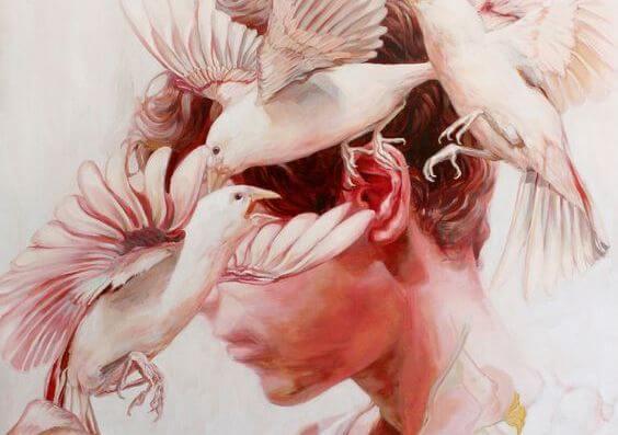 kafayı çevreleyen kuşlar
