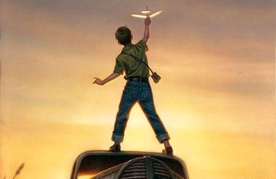 uçak uçuran çocuk