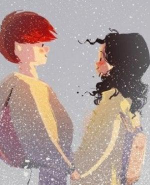 kar altında duran çift