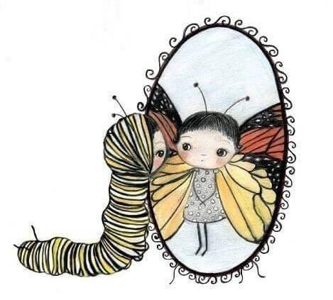 tırtıldan kelebeğe çocuk