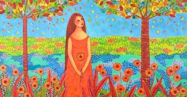 ağaçlar altında kırmızı elbiseli kız