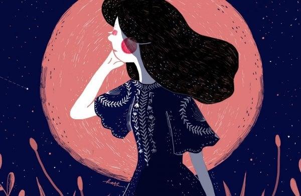 ay önünde düşünceli kız