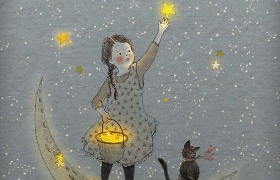 kedisiyle gökyüzü yapan kız
