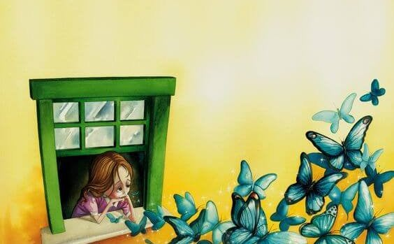 pencereden mavi kelebeklere bakan kız