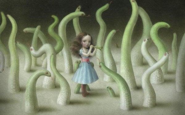 korkmuş yalnız kız