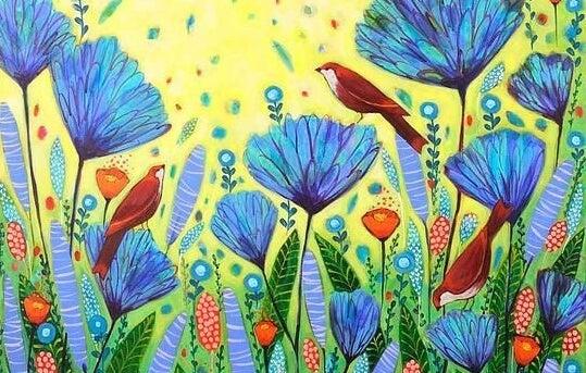 mavi çiçekler, kırmızı kuşlar