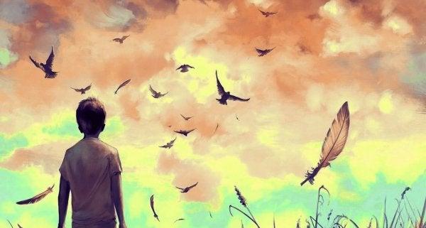 kuşları izleyen çocuk ve uçuşan tüyler