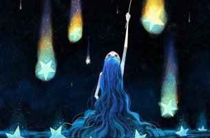 mavi saçlı kadın gökyüzünde