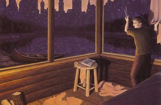 pencerede uğraşan adam