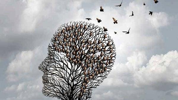 kuşlarla dolu kafa şeklindeki kuru ağaç