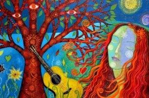 renkli kadın gitar ve ağaç