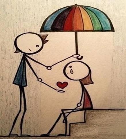rengarenk şemsiye altında kalp vermek