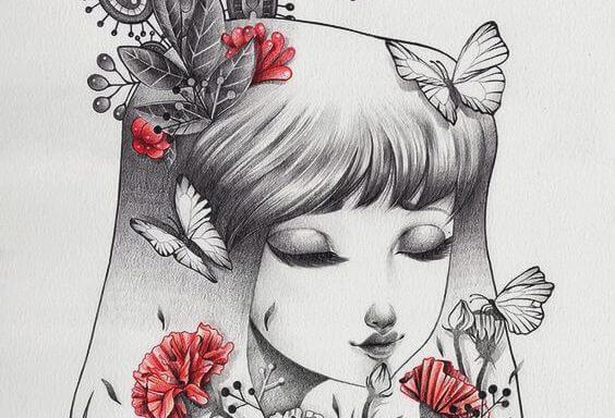 siyah beyaz kadın ve kırmızı çiçekler