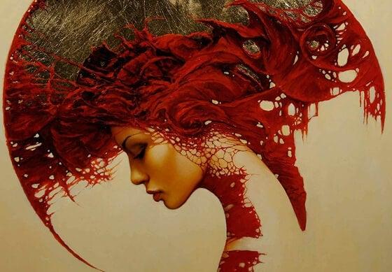 sparta miğferli kırmızı kadın