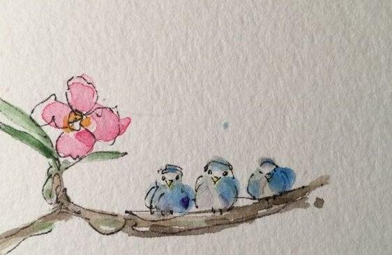 dalda duran üç kuş