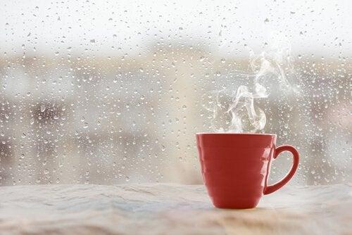 yağmurda pencere pervazında sıcak kupa