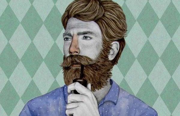 pipo içen sakallı adam