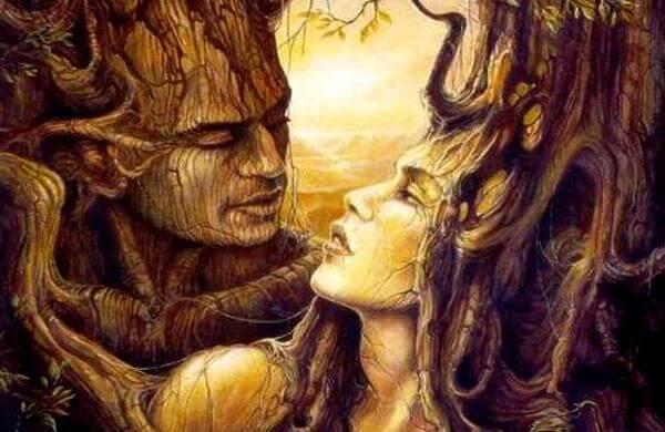 ağaçtan kadın erkek