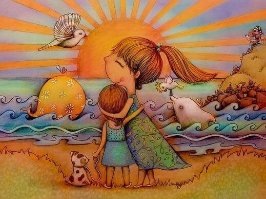 mutlu anne çocuk ve köpek