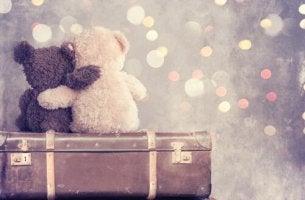 oyuncak ayıcıklar birbirlerine sarılmış