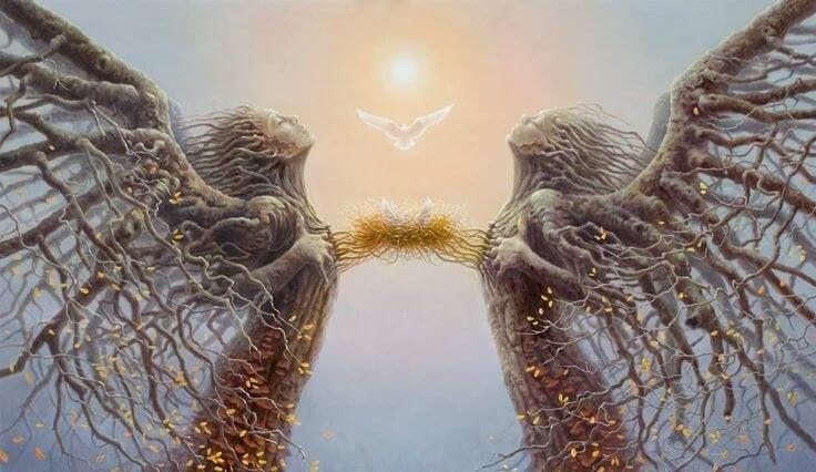 bağlı kalpli dal melek insanlar
