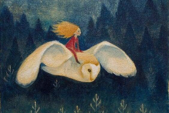 baykuşa binen kadın