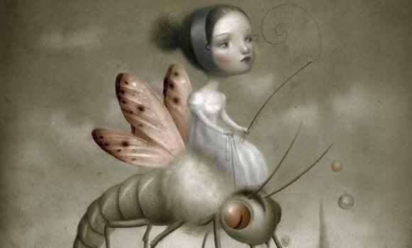 böceğe binen kız