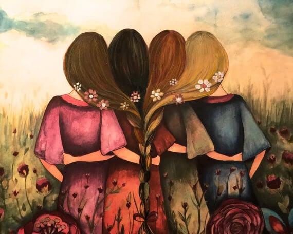 çiçekler içinde saçları örgülü dört kız arkadaş